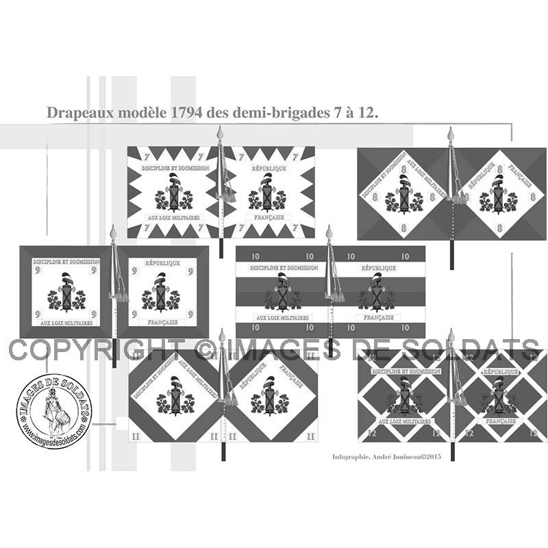 drapeaux mod le 1794 des demi brigades 1 24 1. Black Bedroom Furniture Sets. Home Design Ideas