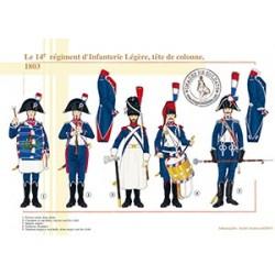 Le 14e régiment d'Infanterie Légère, tête de colonne, 1803