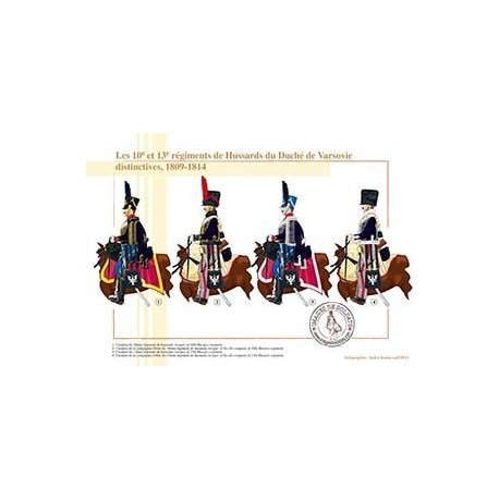 Les 10e et 13e régiments de Hussards du Duché de Varsovie, distinctives, 1809-1814