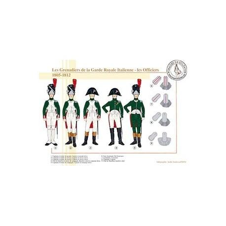 Les Grenadiers de la Garde Royale Italienne, les Officiers, 1805-1812