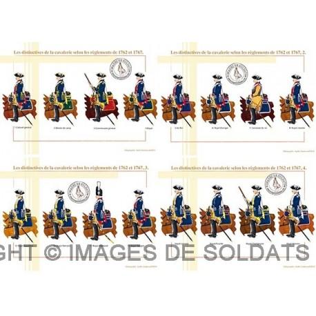 Les distinctives de la cavalerie selon les règlements de 1762 et 1767