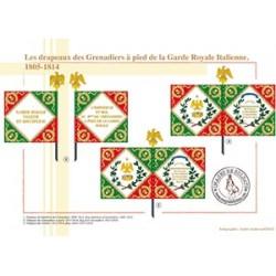 Les drapeaux des Grenadiers à pied de la Garde Royale Italienne, 1805-1814