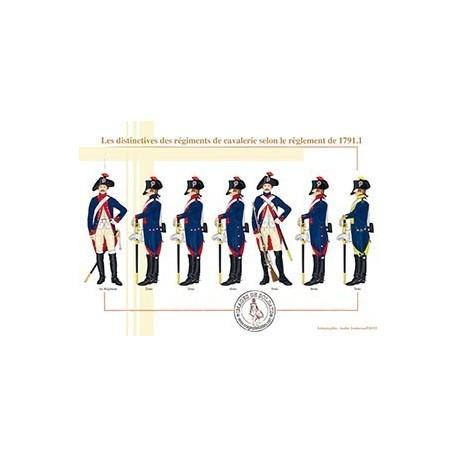 Les distinctives des régiments de cavalerie selon le règlement de 1791