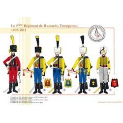 Le 9ème Régiment de Hussards, trompettes, 1805-1811