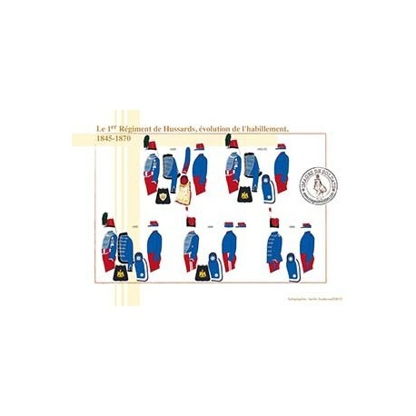 Le 1er Régiment de Hussards, évolution de l'habillement, 1845-1870
