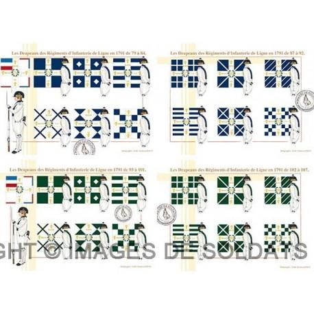 Les Drapeaux des Régiments d'Infanterie de Ligne en 1791 de 93 à 107 (4/4)