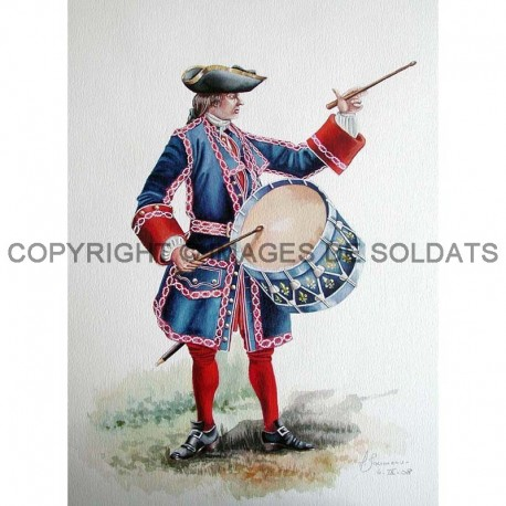 Tambour des compagnies Franches de la Marine, 1740