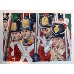 Portrait d'un groupe de reconstitution sur l'infanterie britannique (1815)
