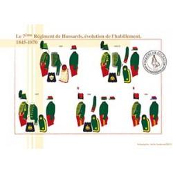 Le 7ème Régiment de Hussards, évolution de l'habillement, 1845-1870