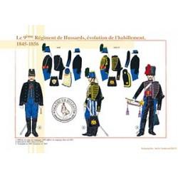 Le 9ème Régiment de Hussards, évolution de l'habillement, 1845-1856