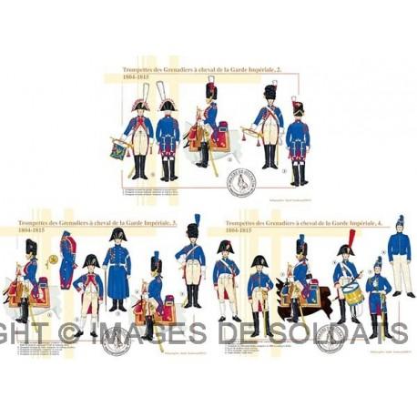 Trompettes des Grenadiers à cheval de la Garde Impériale (2, 3 et 4), 1804-1815