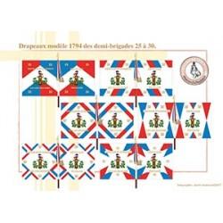 Drapeaux modèle 1794 des demi-brigades, 25 à 30
