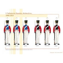 L'Infanterie Danoise, distinctives, 1808-1814