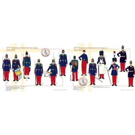 43ème Régiment d'Infanterie de Ligne (1 et 2), 1854-1858