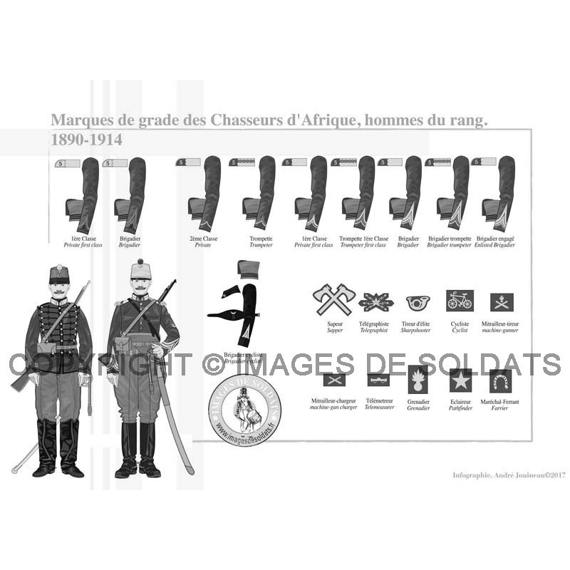 marques de grade des chasseurs d 39 afrique hommes du rang 1890 1914. Black Bedroom Furniture Sets. Home Design Ideas
