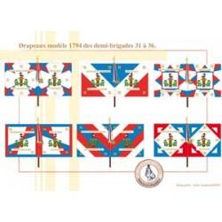 Französische Infanterieflaggen Modell 1794 Halbbrigaden 31-36