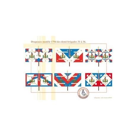 Drapeaux modèle 1794 des demi-brigades, 31 à 36