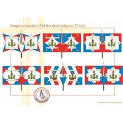 Französische Infanterieflaggen Modell 1794 Halbbrigaden 37-42