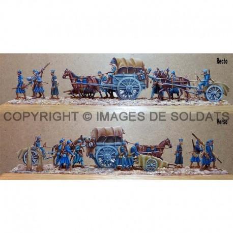 Groupe de soldats français d'un poste de secours en déplacement, 1917-1918