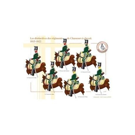 Les distinctives des régiments de Chasseurs à cheval, 1815-1822