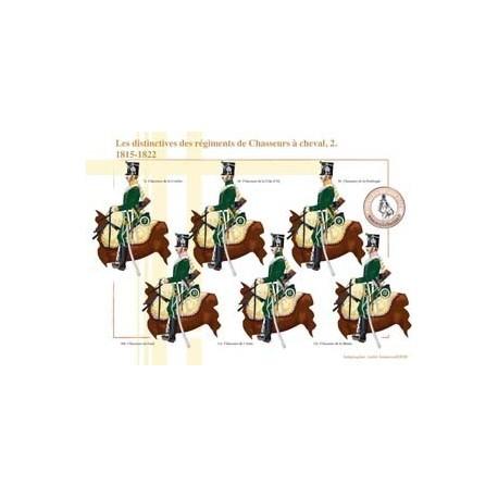 Les distinctives des régiments de Chasseurs à cheval (2), 1815-1822