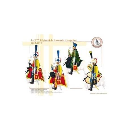 Le 9ème Régiment de Hussards, trompettes, 1812-1815
