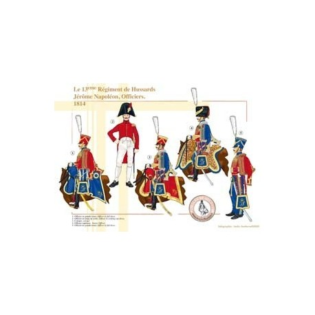 Le 13ème Régiment de Hussards Jérôme Napoléon, Officiers, 1814