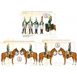 Les Dragons à cheval de la Garde Impériale, grande tenue et tenue de campagne, 1806