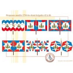 Französische Flaggen Modell 1794 der Halbbrigaden 43 bis 48