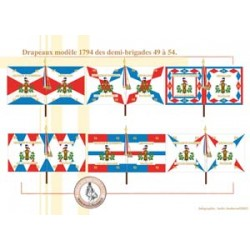 French flags model 1794 of demi-brigades 49 to 54