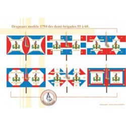 French flags model 1794 of the demi-brigades 55 to 60