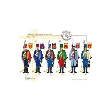 Les distinctives des régiments de Hussards, 1786-1791