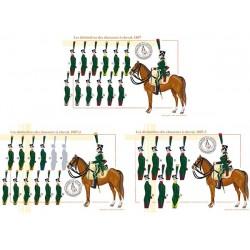Les distinctives des chasseurs à cheval, 1807, régiments 1 à 31