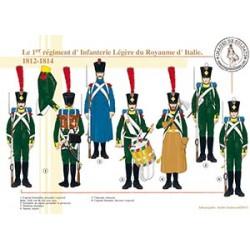 Le 1er régiment d'Infanterie Légère du Royaume d'Italie, 1812-1814