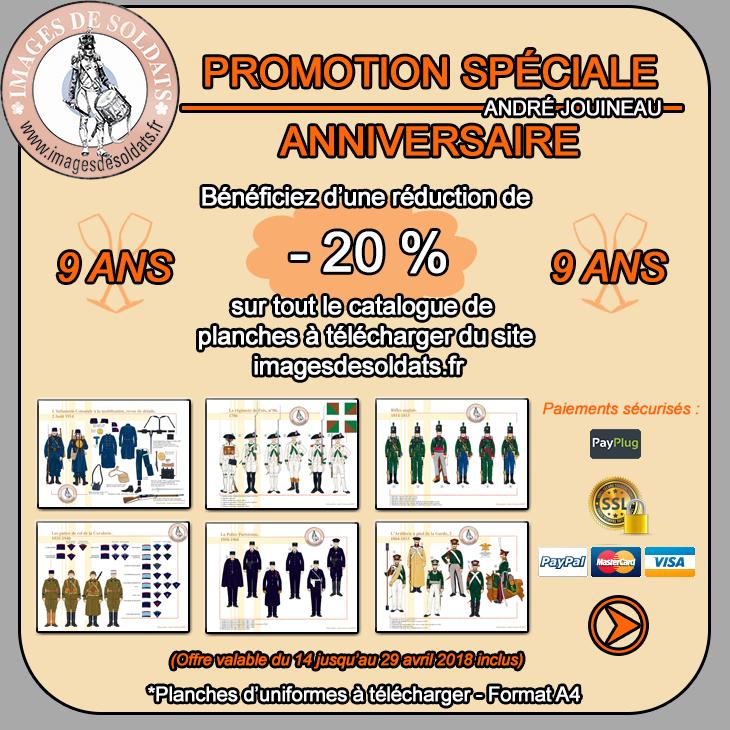 Offre spéciale Anniversaire 2018 -20% sur le catalogue des planches d'uniformes à télécharger