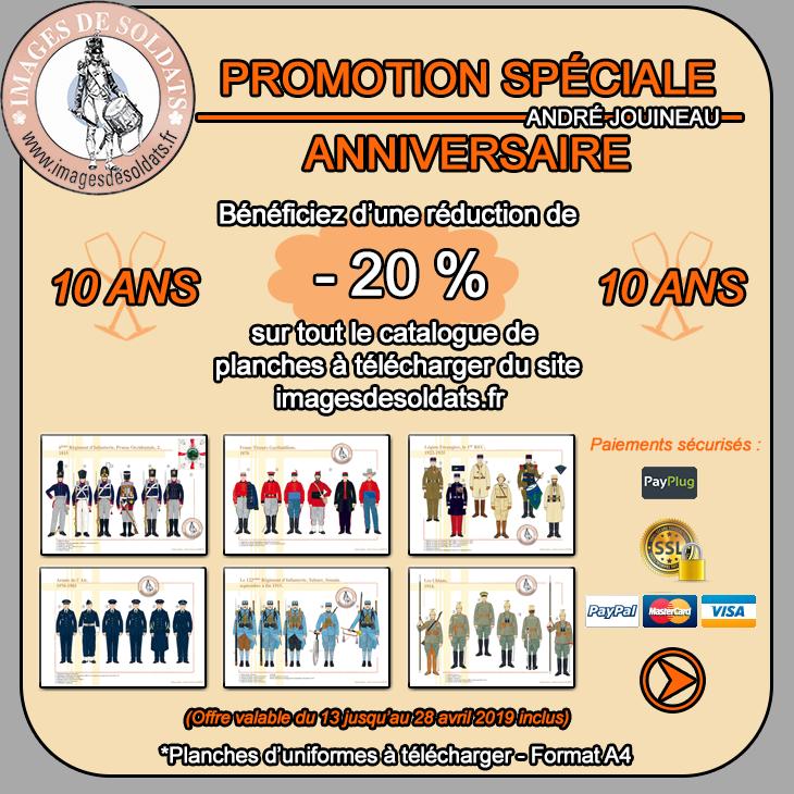 Offre spéciale Anniversaire 2019 -20% sur le catalogue des planches d'uniformes à télécharger