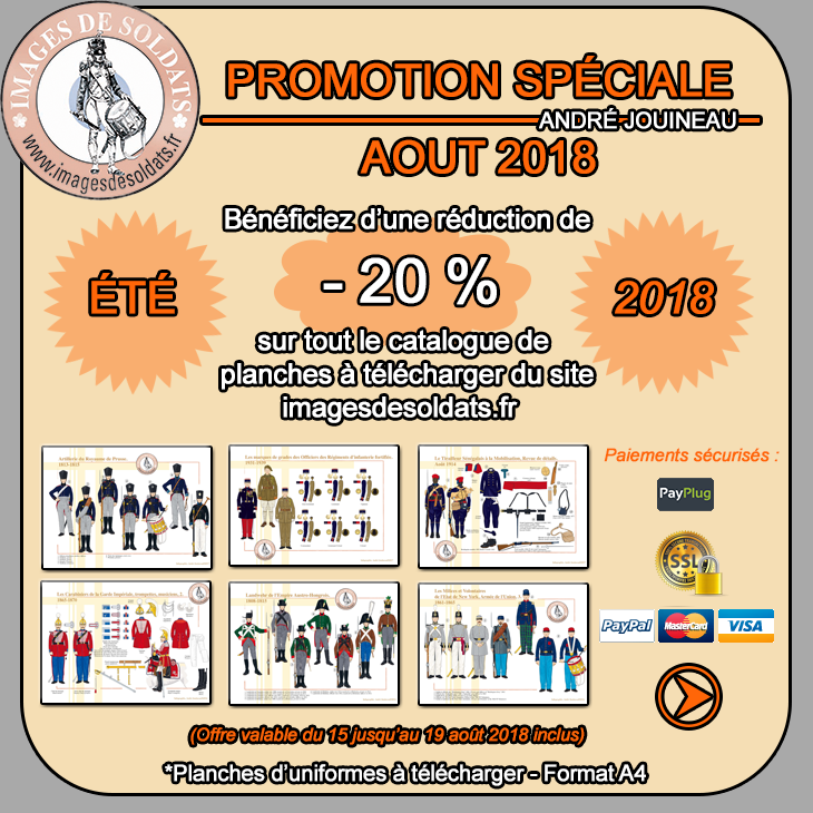 Offre spéciale août 2018 : -20% sur le catalogue des planches d'uniformes à télécharger