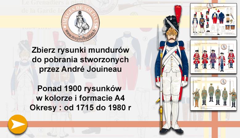 Rysunki mundurów wojskowych autorstwa André Jouineau