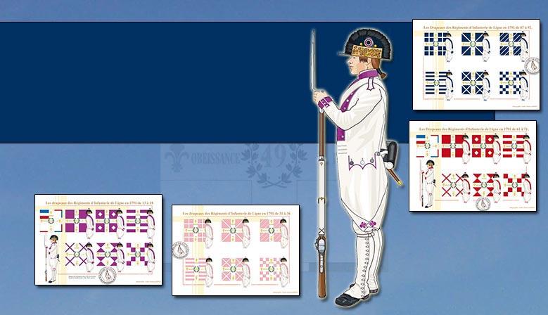 Die Flaggen des Französisch Infanterie 1791