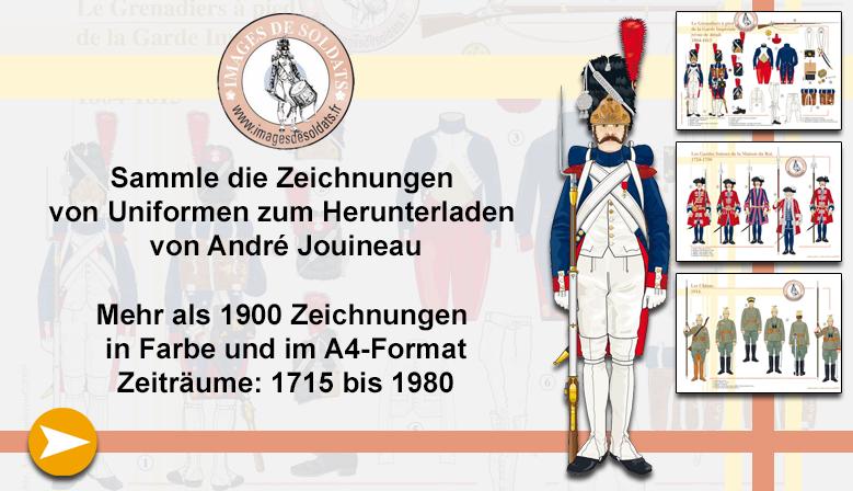 Militäruniformzeichnungen von André Jouineau